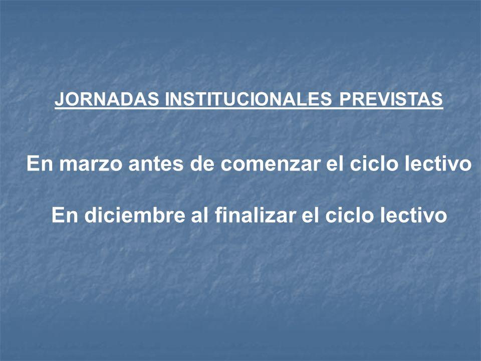 JORNADAS INSTITUCIONALES PREVISTAS En marzo antes de comenzar el ciclo lectivo En diciembre al finalizar el ciclo lectivo