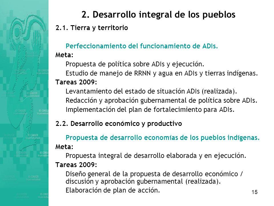 15 2.Desarrollo integral de los pueblos 2.1.
