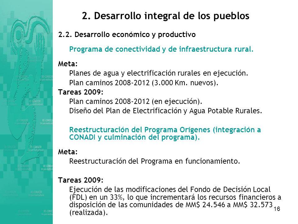 16 2.Desarrollo integral de los pueblos 2.2.