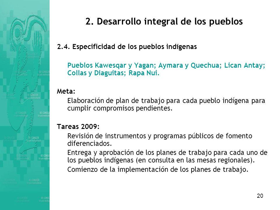 20 2.Desarrollo integral de los pueblos 2.4.