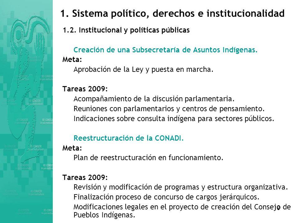 9 1.Sistema político, derechos e institucionalidad 1.2.
