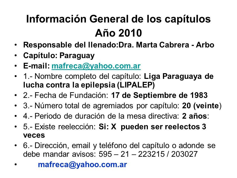 Información General de los capítulos Año 2010 Responsable del llenado:Dra. Marta Cabrera - Arbo Capítulo: Paraguay E-mail: mafreca@yahoo.com.armafreca