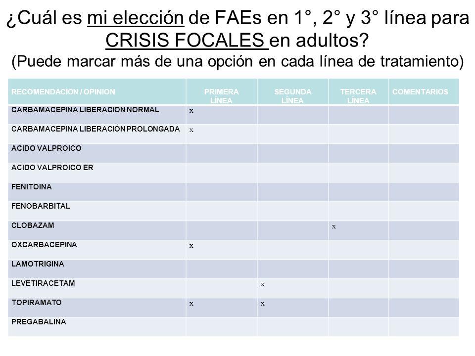 ¿Cuál es mi elección de FAEs en 1°, 2° y 3° línea para CRISIS FOCALES en adultos? (Puede marcar más de una opción en cada línea de tratamiento) RECOME