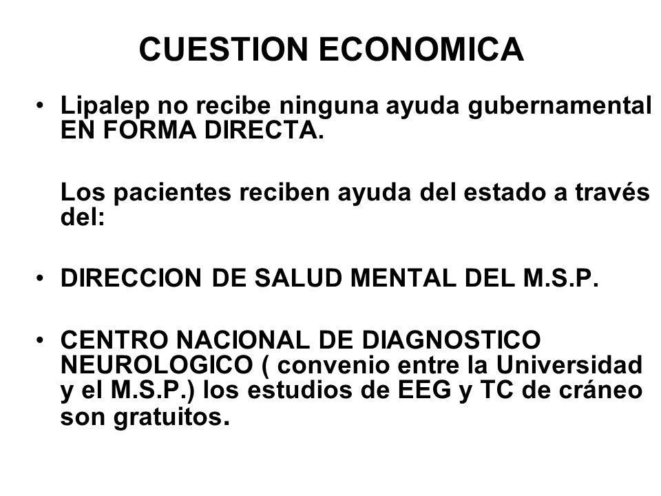 CUESTION ECONOMICA Lipalep no recibe ninguna ayuda gubernamental EN FORMA DIRECTA. Los pacientes reciben ayuda del estado a través del: DIRECCION DE S