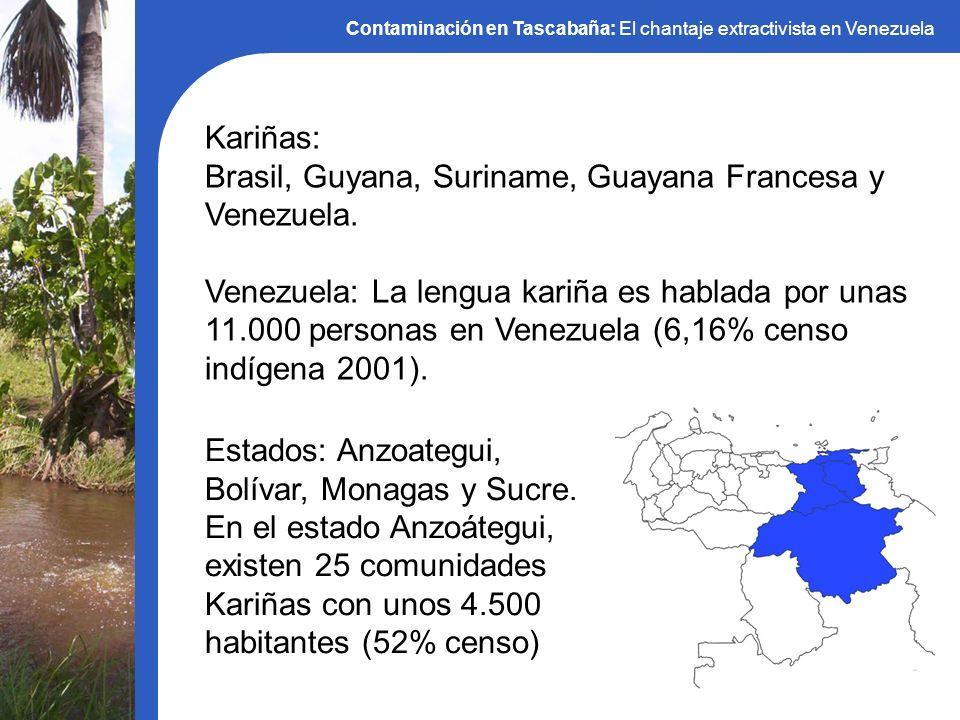 Contaminación en Tascabaña: El chantaje extractivista en Venezuela Kariñas: Brasil, Guyana, Suriname, Guayana Francesa y Venezuela. Venezuela: La leng