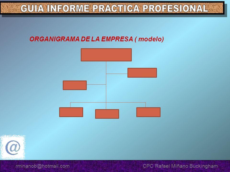 ORGANIGRAMA DE LA EMPRESA ( modelo) rminanob@hotmail.com CPC Rafael Miñano Buckingham