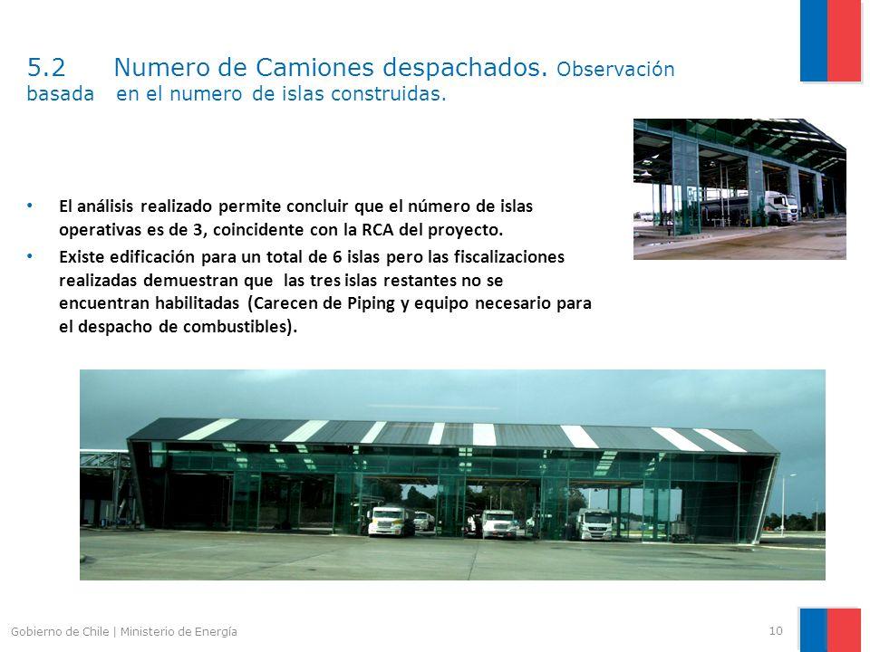 5.2 Numero de Camiones despachados. Observación basada en el numero de islas construidas. 10 Gobierno de Chile | Ministerio de Energía El análisis rea