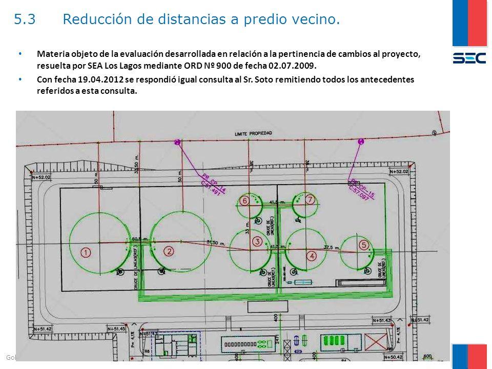 5.3Reducción de distancias a predio vecino. 11 Gobierno de Chile | Ministerio de Energía Materia objeto de la evaluación desarrollada en relación a la