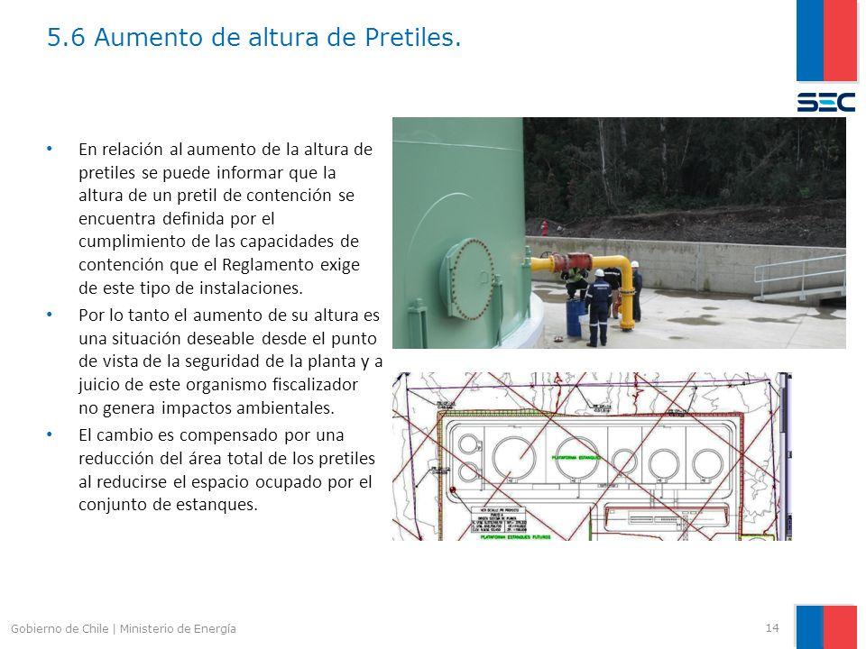 5.6 Aumento de altura de Pretiles. 14 Gobierno de Chile | Ministerio de Energía En relación al aumento de la altura de pretiles se puede informar que