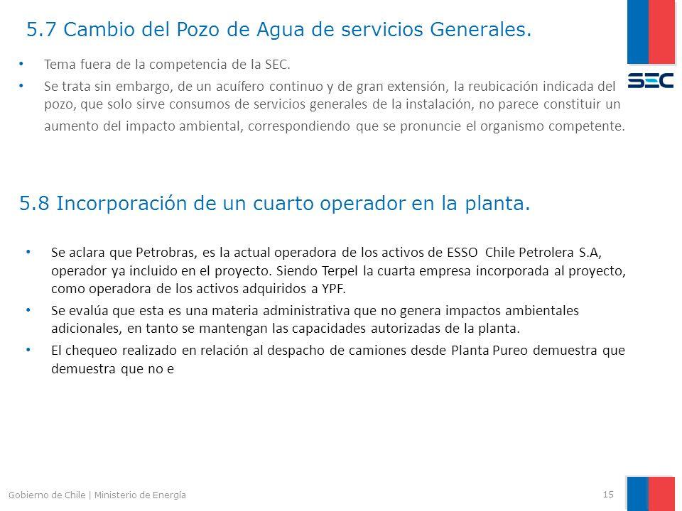 5.7 Cambio del Pozo de Agua de servicios Generales. 15 Gobierno de Chile | Ministerio de Energía Tema fuera de la competencia de la SEC. Se trata sin