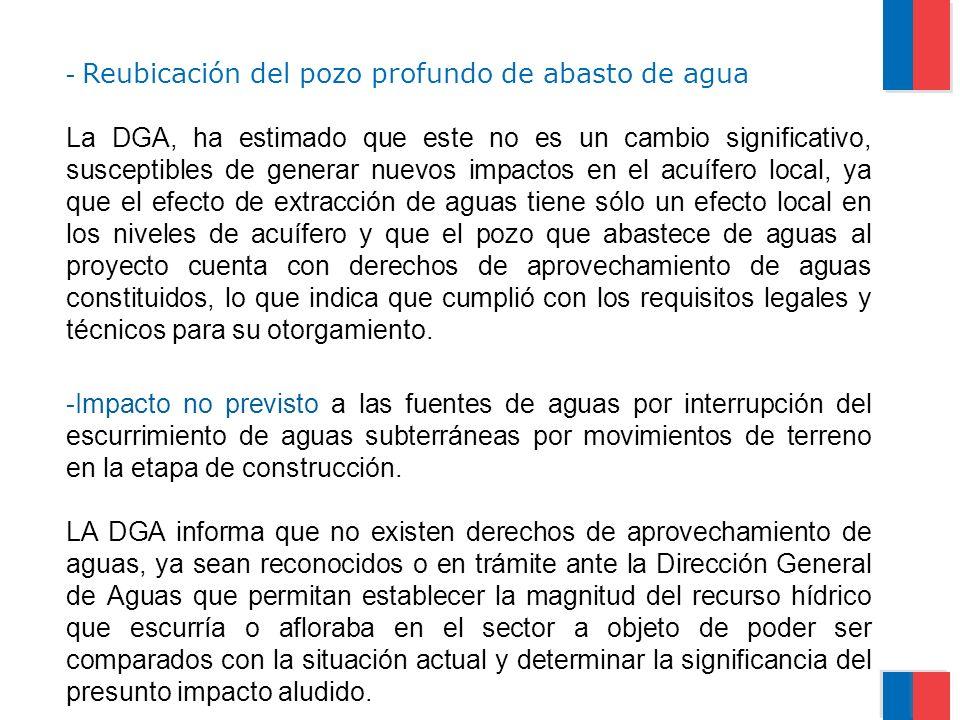 - Reubicación del pozo profundo de abasto de agua La DGA, ha estimado que este no es un cambio significativo, susceptibles de generar nuevos impactos