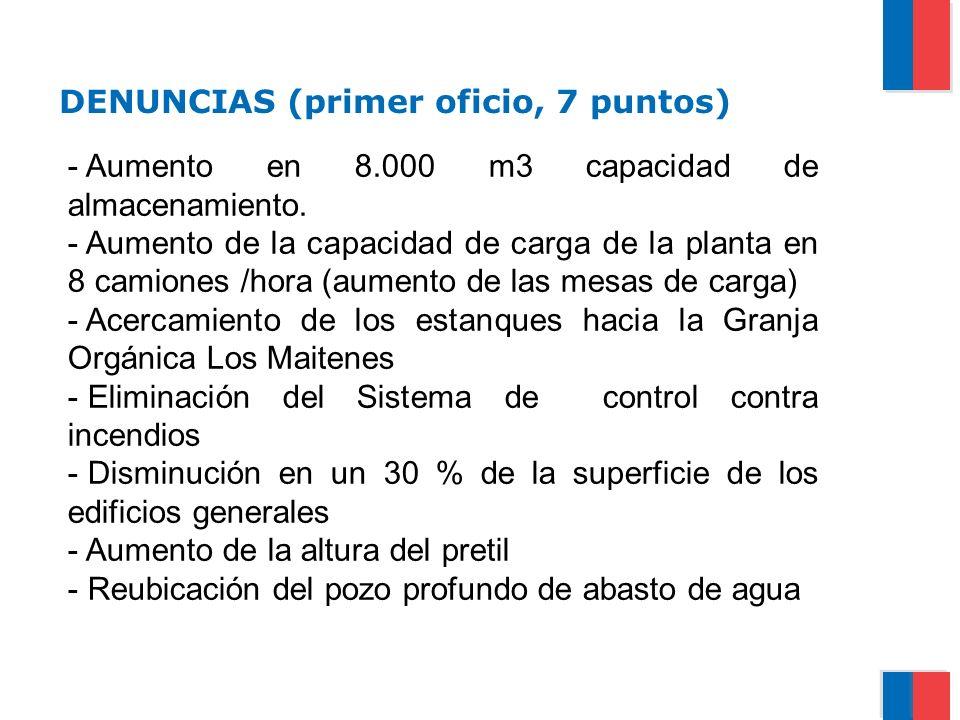 DENUNCIAS (primer oficio, 7 puntos) - Aumento en 8.000 m3 capacidad de almacenamiento. - Aumento de la capacidad de carga de la planta en 8 camiones /