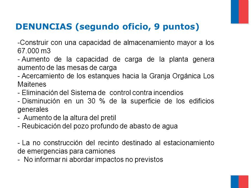 DENUNCIAS (segundo oficio, 9 puntos) -Construir con una capacidad de almacenamiento mayor a los 67.000 m3 - Aumento de la capacidad de carga de la pla