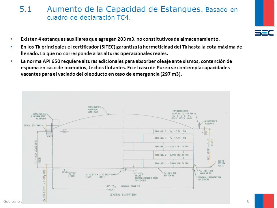 5.1 Aumento de la Capacidad de Estanques. Basado en cuadro de declaración TC4. 8 Gobierno de Chile | Ministerio de Energía Existen 4 estanques auxilia