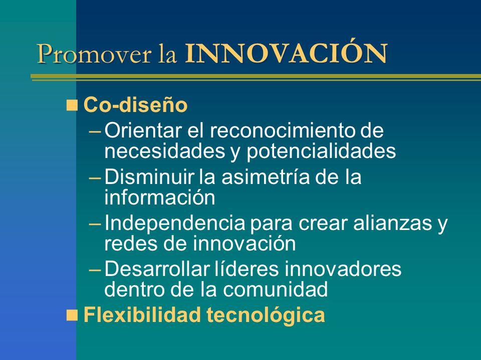 Promover la INNOVACIÓN Co-diseño –Orientar el reconocimiento de necesidades y potencialidades –Disminuir la asimetría de la información –Independencia