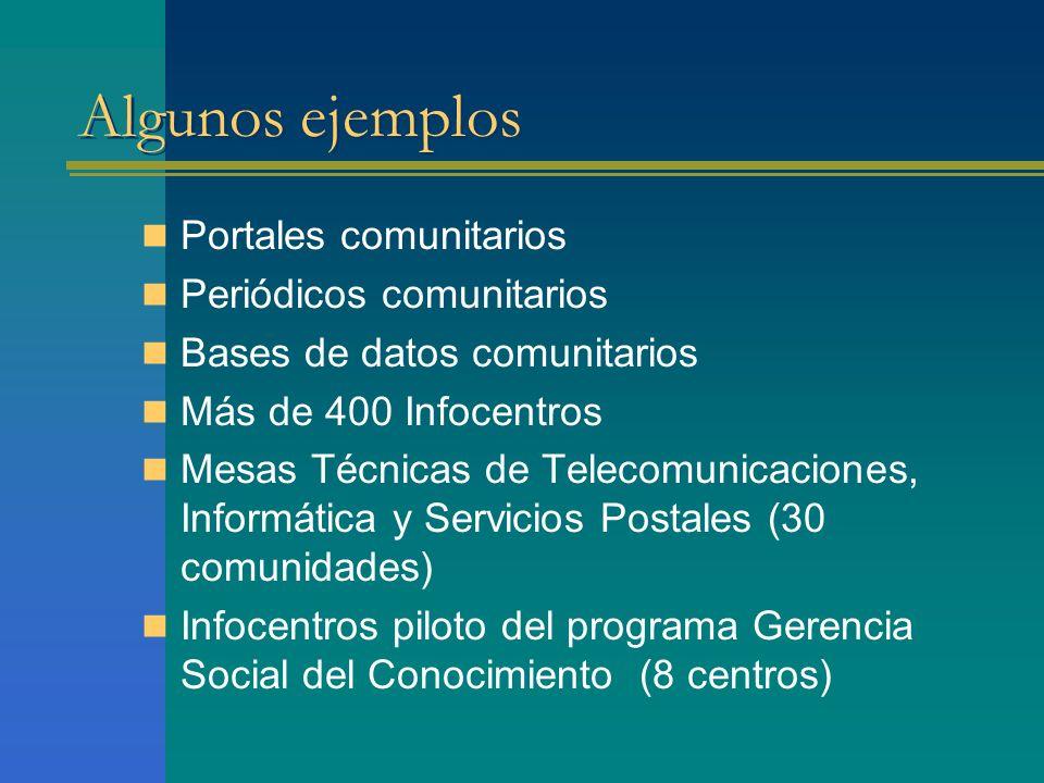 Algunos ejemplos Portales comunitarios Periódicos comunitarios Bases de datos comunitarios Más de 400 Infocentros Mesas Técnicas de Telecomunicaciones