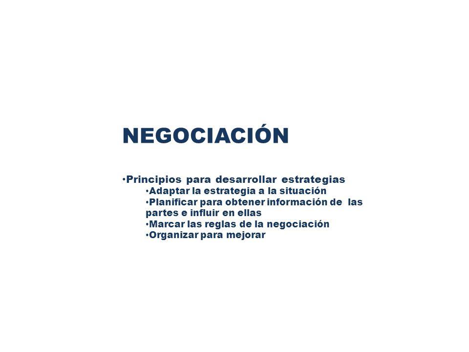 PRINCIPIOS PARA DESARROLLAR ESTRATEGIAS EN TODO TIPO DE NEGOCIACION Adaptar la estrategia a la situación Se debe abandonar el enfoque único o consistente de las negociaciones.