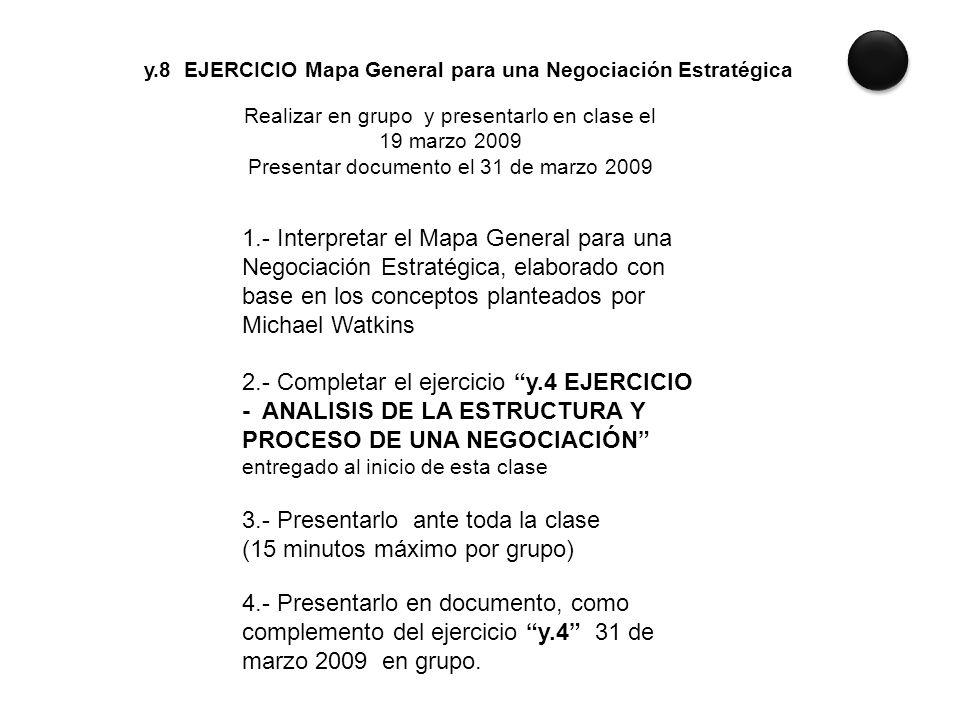 y.8 EJERCICIO Mapa General para una Negociación Estratégica Realizar en grupo y presentarlo en clase el 19 marzo 2009 Presentar documento el 31 de mar