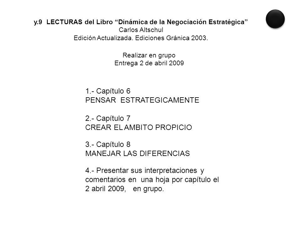 y.9 LECTURAS del Libro Dinámica de la Negociación Estratégica Carlos Altschul Edición Actualizada. Ediciones Gránica 2003. Realizar en grupo Entrega 2