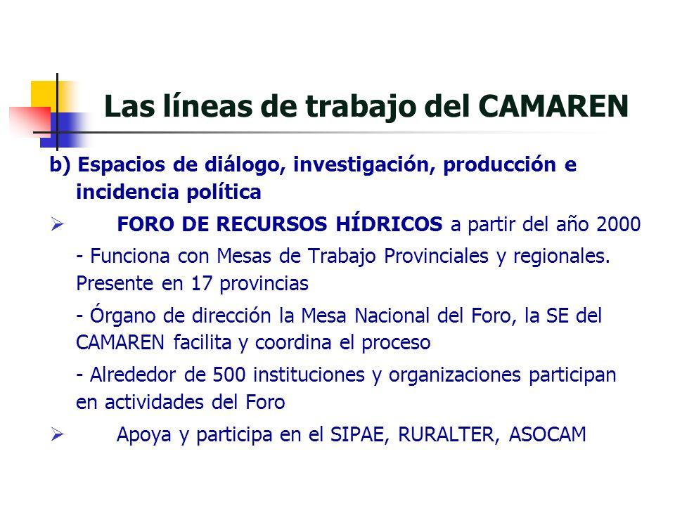 b) Espacios de diálogo, investigación, producción e incidencia política FORO DE RECURSOS HÍDRICOS a partir del año 2000 - Funciona con Mesas de Trabajo Provinciales y regionales.