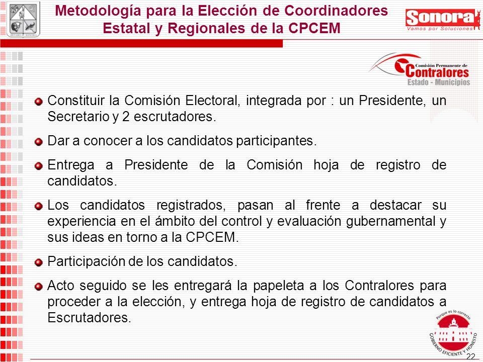 22 Metodología para la Elección de Coordinadores Estatal y Regionales de la CPCEM Constituir la Comisión Electoral, integrada por : un Presidente, un Secretario y 2 escrutadores.