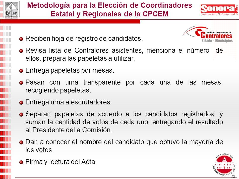 23 Metodología para la Elección de Coordinadores Estatal y Regionales de la CPCEM Reciben hoja de registro de candidatos.