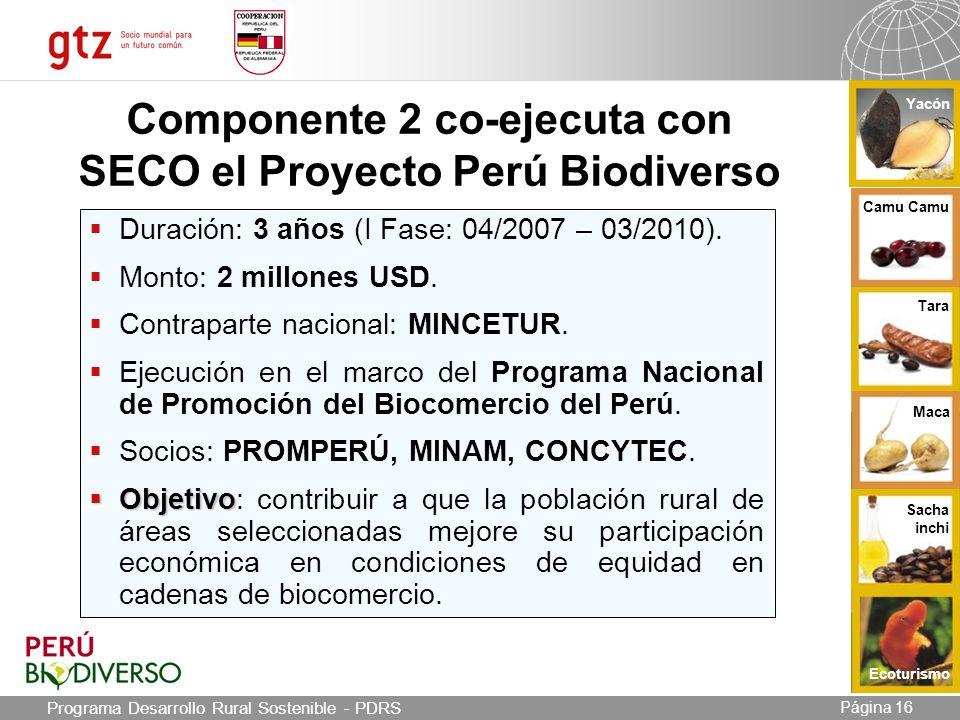 03.05.2014 Seite 16 Página 16 Componente 2 co-ejecuta con SECO el Proyecto Perú Biodiverso Duración: 3 años (I Fase: 04/2007 – 03/2010).