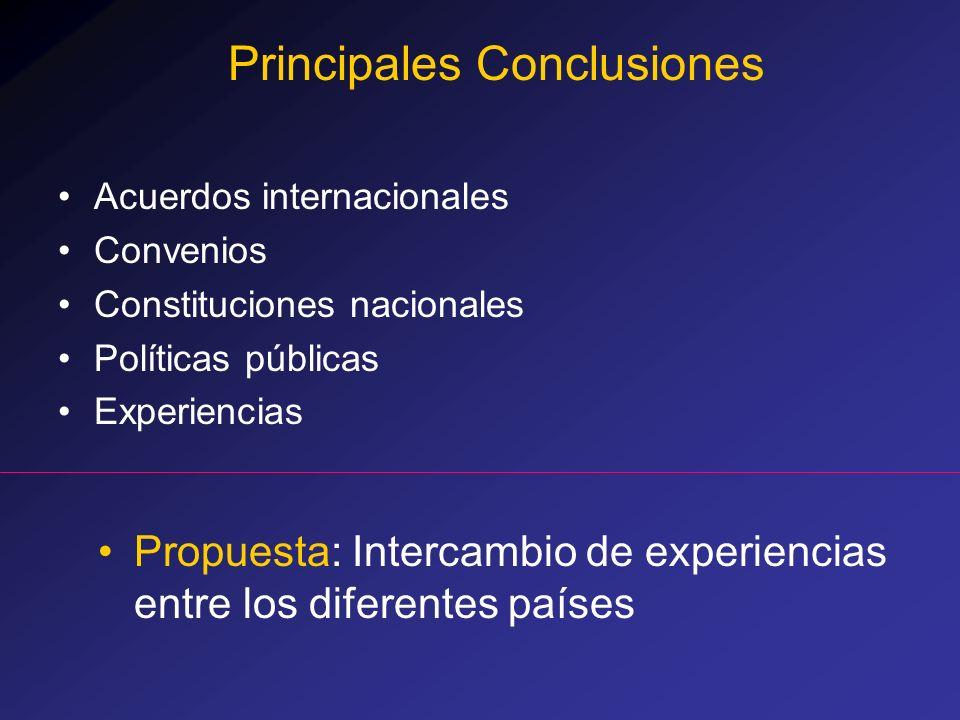 Acuerdos internacionales Convenios Constituciones nacionales Políticas públicas Experiencias Principales Conclusiones Propuesta: Intercambio de experi