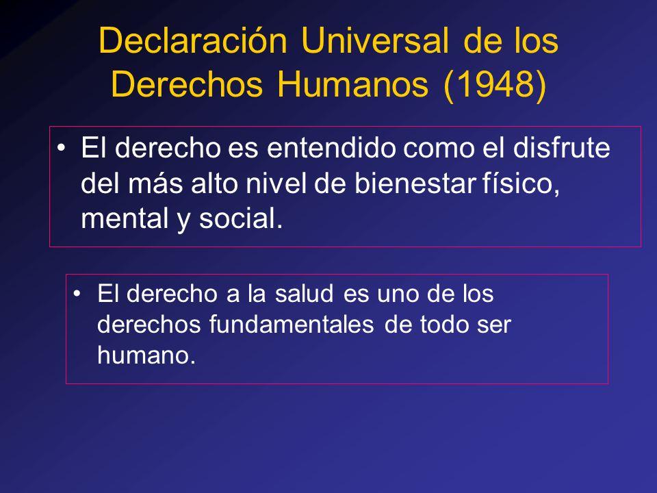 Declaración Universal de los Derechos Humanos (1948) El derecho a la salud es uno de los derechos fundamentales de todo ser humano. El derecho es ente