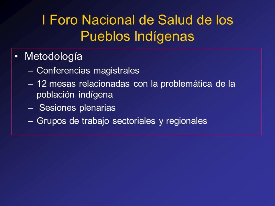 Metodología –Conferencias magistrales –12 mesas relacionadas con la problemática de la población indígena – Sesiones plenarias –Grupos de trabajo sect