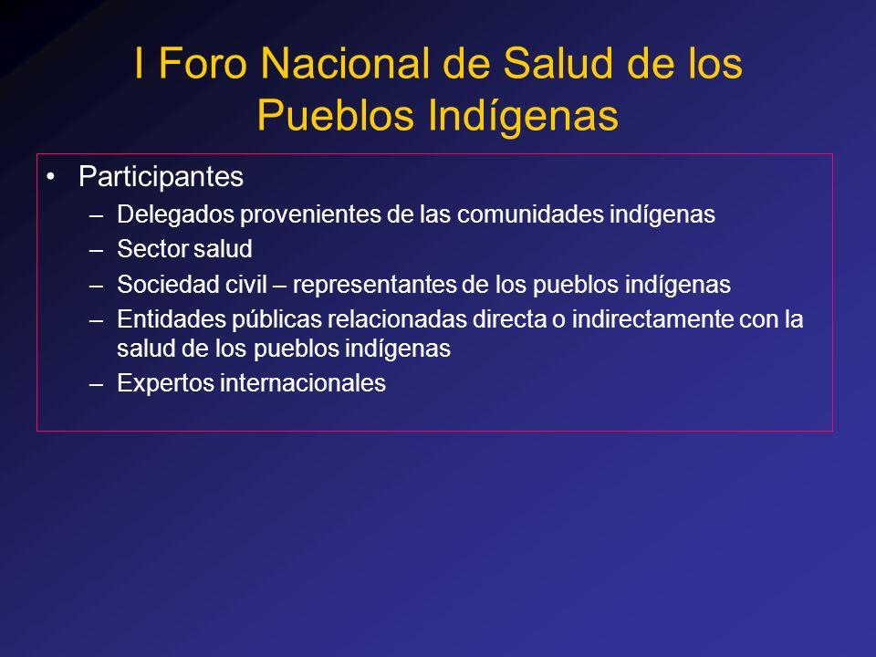 Participantes –Delegados provenientes de las comunidades indígenas –Sector salud –Sociedad civil – representantes de los pueblos indígenas –Entidades