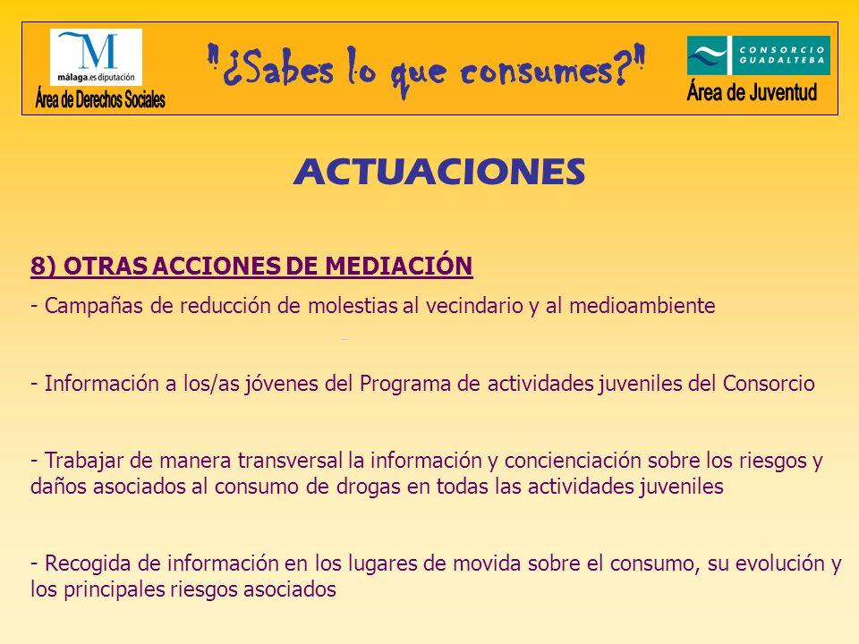 ACTUACIONES 8) OTRAS ACCIONES DE MEDIACIÓN - Campañas de reducción de molestias al vecindario y al medioambiente - Información a los/as jóvenes del Pr