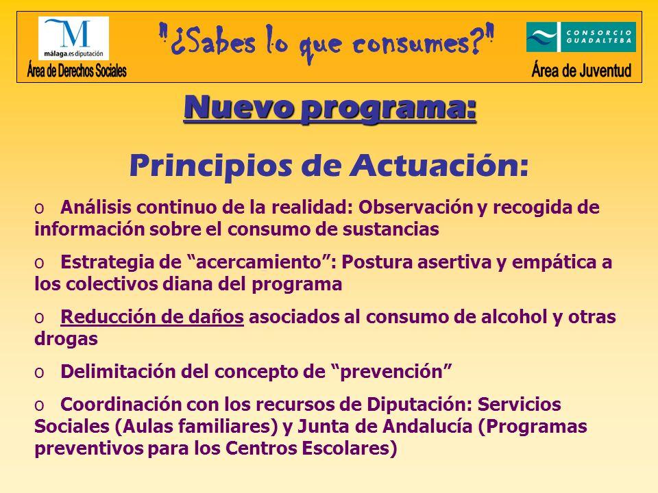 Nuevo programa: Principios de Actuación: o Análisis continuo de la realidad: Observación y recogida de información sobre el consumo de sustancias o Es
