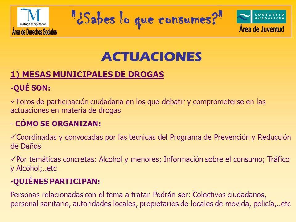 ACTUACIONES 1) MESAS MUNICIPALES DE DROGAS -QUÉ SON: Foros de participación ciudadana en los que debatir y comprometerse en las actuaciones en materia
