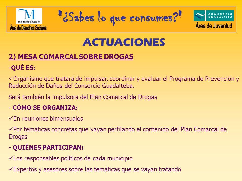 ACTUACIONES 2) MESA COMARCAL SOBRE DROGAS -QUÉ ES: Organismo que tratará de impulsar, coordinar y evaluar el Programa de Prevención y Reducción de Dañ