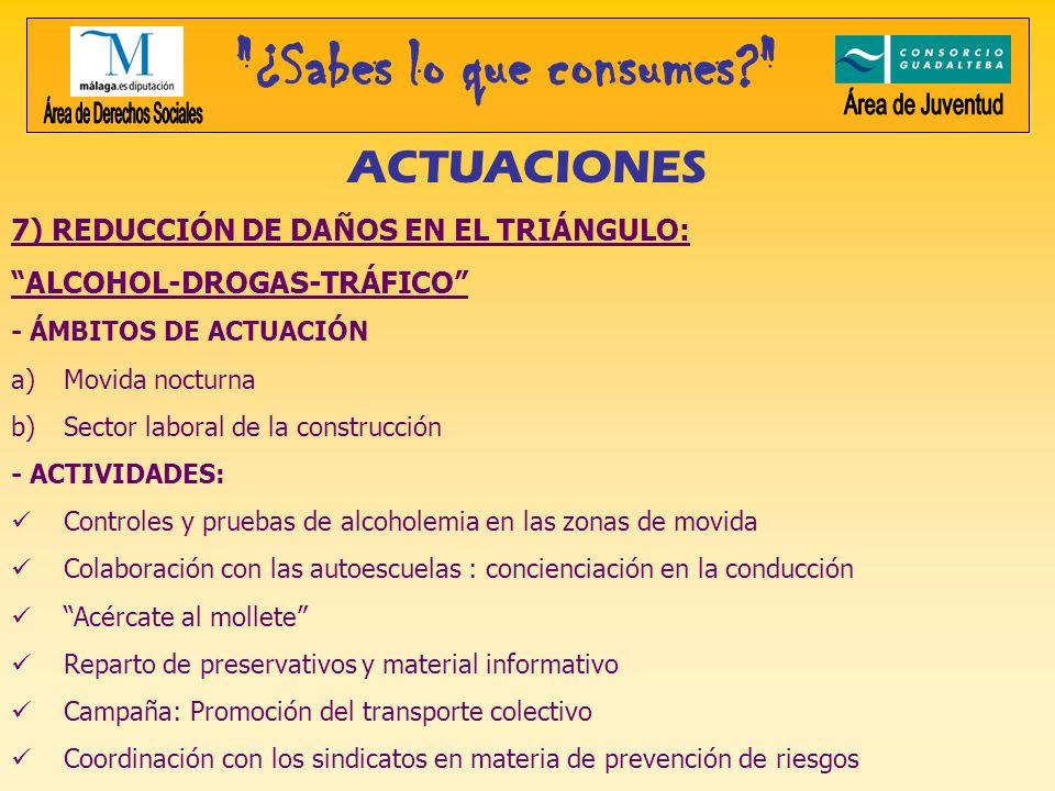ACTUACIONES 7) REDUCCIÓN DE DAÑOS EN EL TRIÁNGULO: ALCOHOL-DROGAS-TRÁFICO - ÁMBITOS DE ACTUACIÓN a)Movida nocturna b)Sector laboral de la construcción