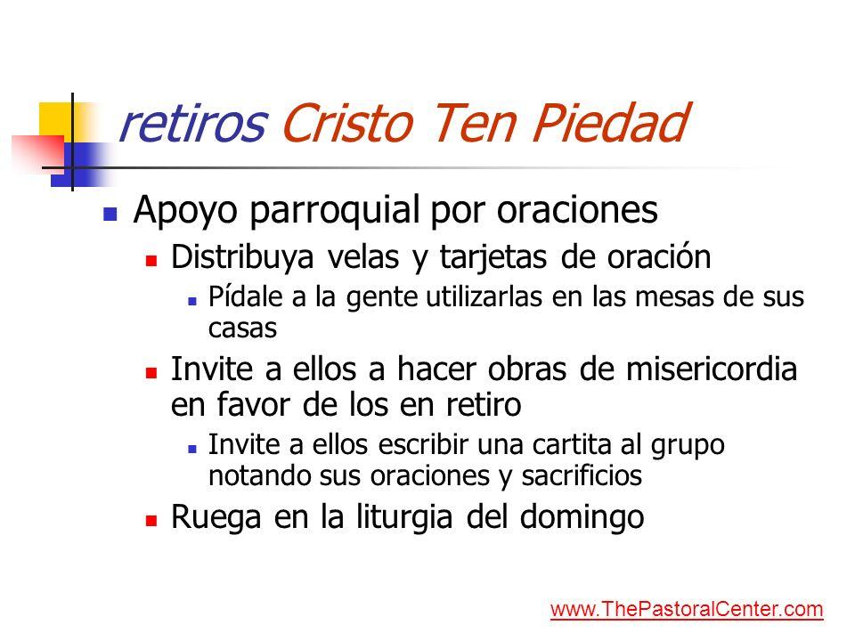 retiros Cristo Ten Piedad Apoyo parroquial por oraciones Distribuya velas y tarjetas de oración Pídale a la gente utilizarlas en las mesas de sus casa