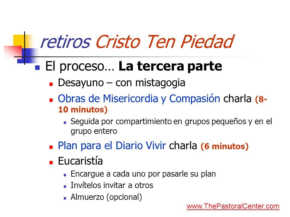 retiros Cristo Ten Piedad El proceso… La tercera parte Desayuno – con mistagogia Obras de Misericordia y Compasión charla (8- 10 minutos) Seguida por