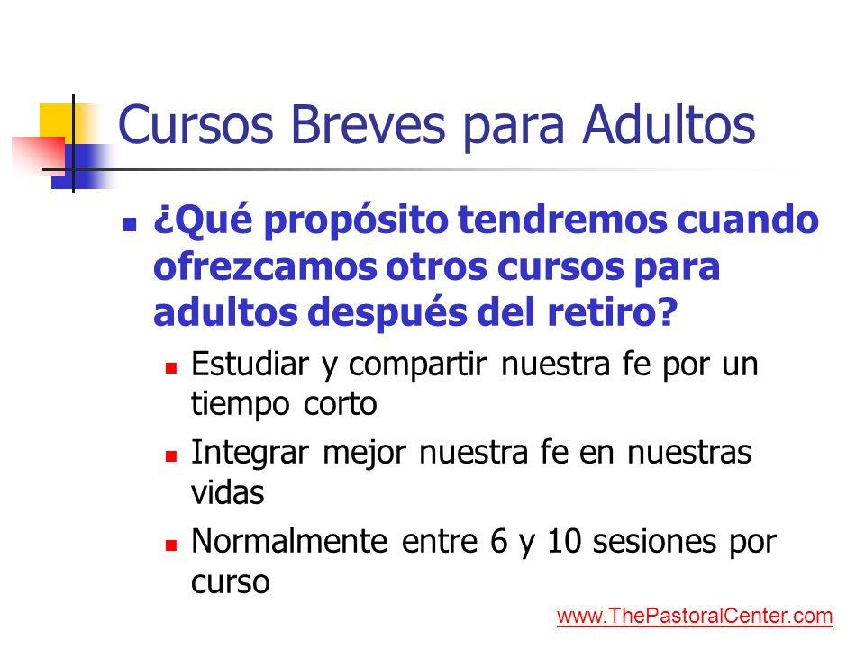Cursos Breves para Adultos ¿Qué propósito tendremos cuando ofrezcamos otros cursos para adultos después del retiro? Estudiar y compartir nuestra fe po