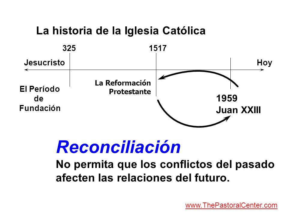 La historia de la Iglesia Católica JesucristoHoy El Período de Fundación 3251517 1959 Juan XXIII Reconciliación No permita que los conflictos del pasa