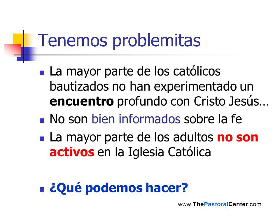 Tenemos problemitas La mayor parte de los católicos bautizados no han experimentado un encuentro profundo con Cristo Jesús… No son bien informados sob