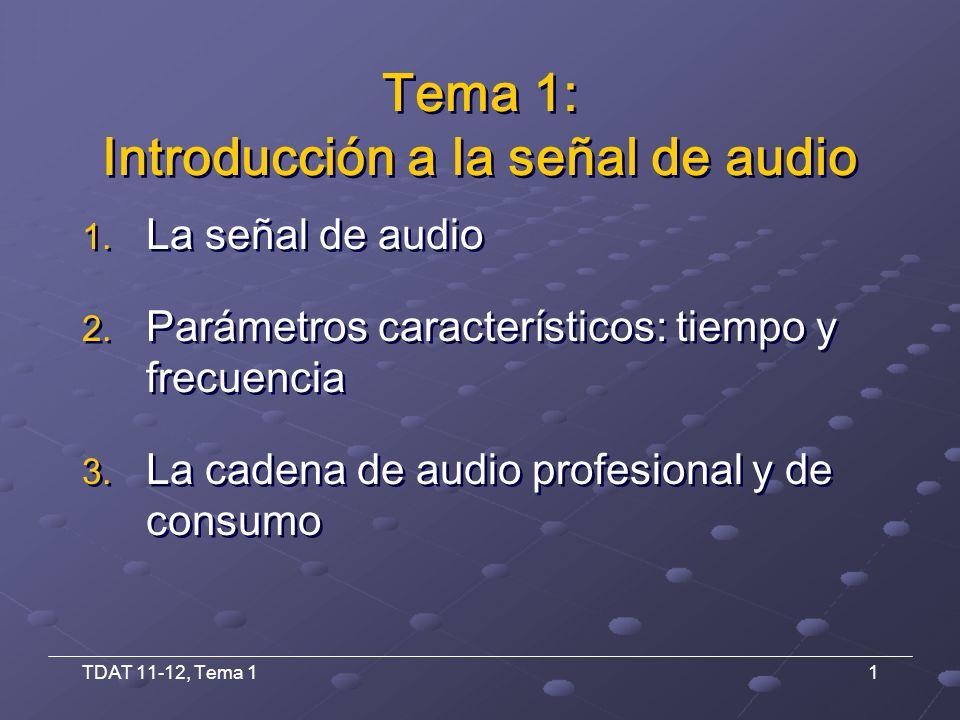 TDAT 11-12, Tema 112 Niveles de señal: definiciones Nivel de micro o de bajo nivel -80 dBu (77 μV) y –20 dBu (77 mV) Generalmente balanceado Requieren amplificación Micrófonos, cabezas magnéticas y cápsulas Nivel de línea o de alto nivel -20 dBu (77 mV) y +30 dBu (24,5 V) Balanceado o asimétrico Niveles próximos al nominal de los equipos Procesadores, magnetófonos, mesas, teclados, entrada de amplificadores Nivel de micro o de bajo nivel -80 dBu (77 μV) y –20 dBu (77 mV) Generalmente balanceado Requieren amplificación Micrófonos, cabezas magnéticas y cápsulas Nivel de línea o de alto nivel -20 dBu (77 mV) y +30 dBu (24,5 V) Balanceado o asimétrico Niveles próximos al nominal de los equipos Procesadores, magnetófonos, mesas, teclados, entrada de amplificadores 1.2.