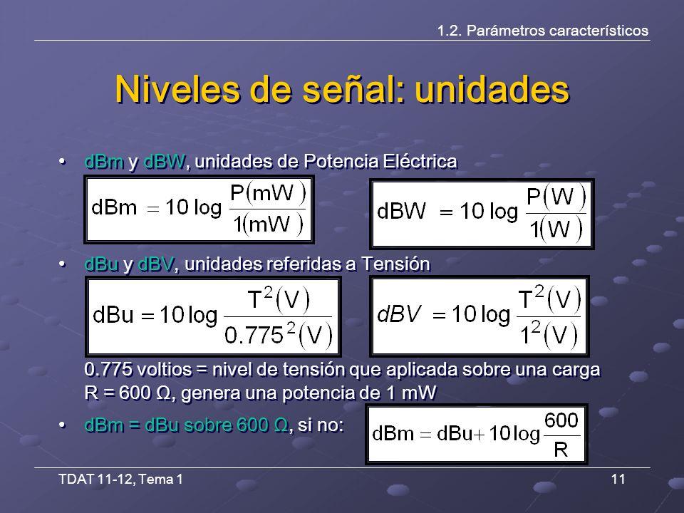TDAT 11-12, Tema 111 Niveles de señal: unidades dBm y dBW, unidades de Potencia Eléctrica dBu y dBV, unidades referidas a Tensión 0.775 voltios = nivel de tensión que aplicada sobre una carga R = 600 Ω, genera una potencia de 1 mW dBm = dBu sobre 600 Ω, si no: dBm y dBW, unidades de Potencia Eléctrica dBu y dBV, unidades referidas a Tensión 0.775 voltios = nivel de tensión que aplicada sobre una carga R = 600 Ω, genera una potencia de 1 mW dBm = dBu sobre 600 Ω, si no: 1.2.