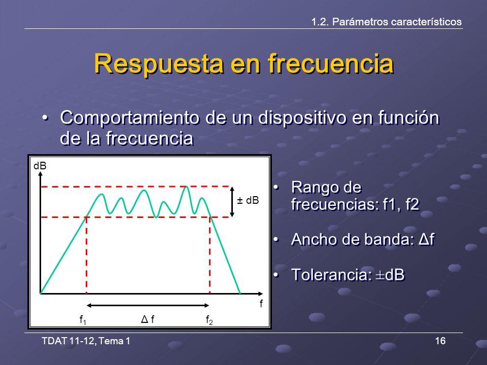 TDAT 11-12, Tema 116 Respuesta en frecuencia Rango de frecuencias: f1, f2 Ancho de banda: Δf Tolerancia: ±dB Rango de frecuencias: f1, f2 Ancho de banda: Δf Tolerancia: ±dB 1.2.