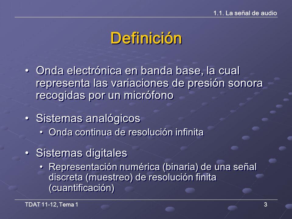 TDAT 11-12, Tema 14 1.1.La señal de audio Analógico vs.