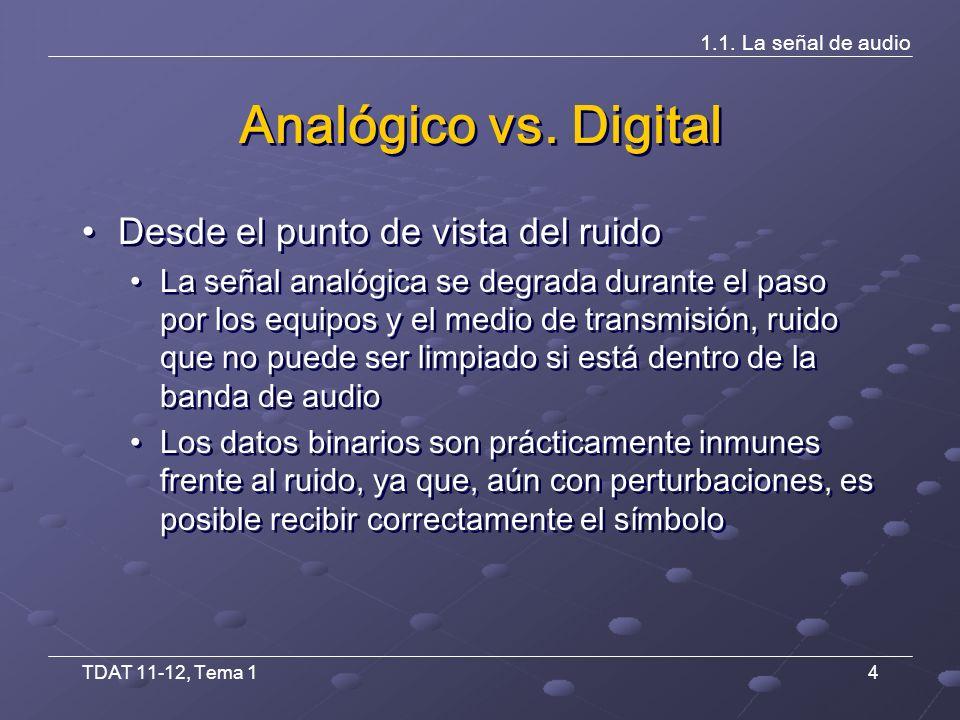 TDAT 11-12, Tema 15 1.1.La señal de audio Analógico vs.