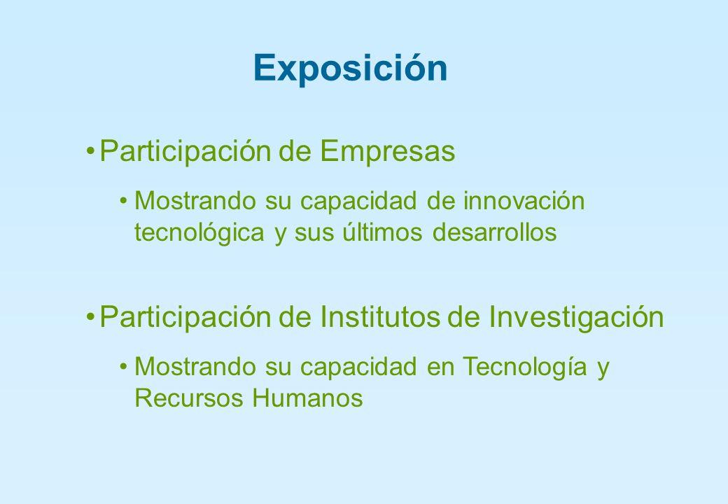 Exposición Participación de Empresas Mostrando su capacidad de innovación tecnológica y sus últimos desarrollos Participación de Institutos de Investigación Mostrando su capacidad en Tecnología y Recursos Humanos