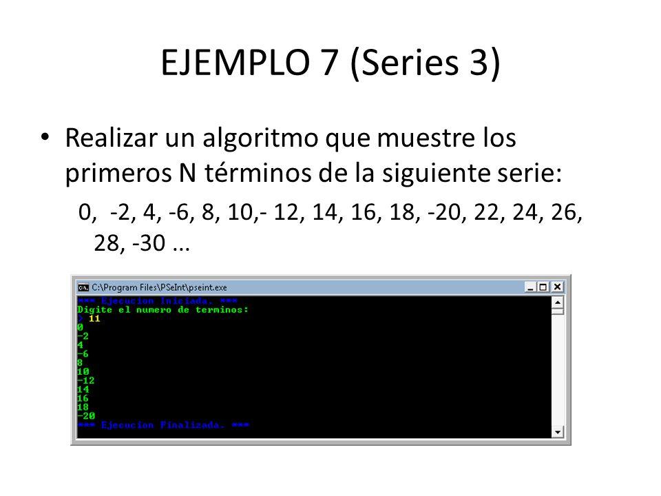 EJEMPLO 7 (Series 3) Realizar un algoritmo que muestre los primeros N términos de la siguiente serie: 0, -2, 4, -6, 8, 10,- 12, 14, 16, 18, -20, 22, 2