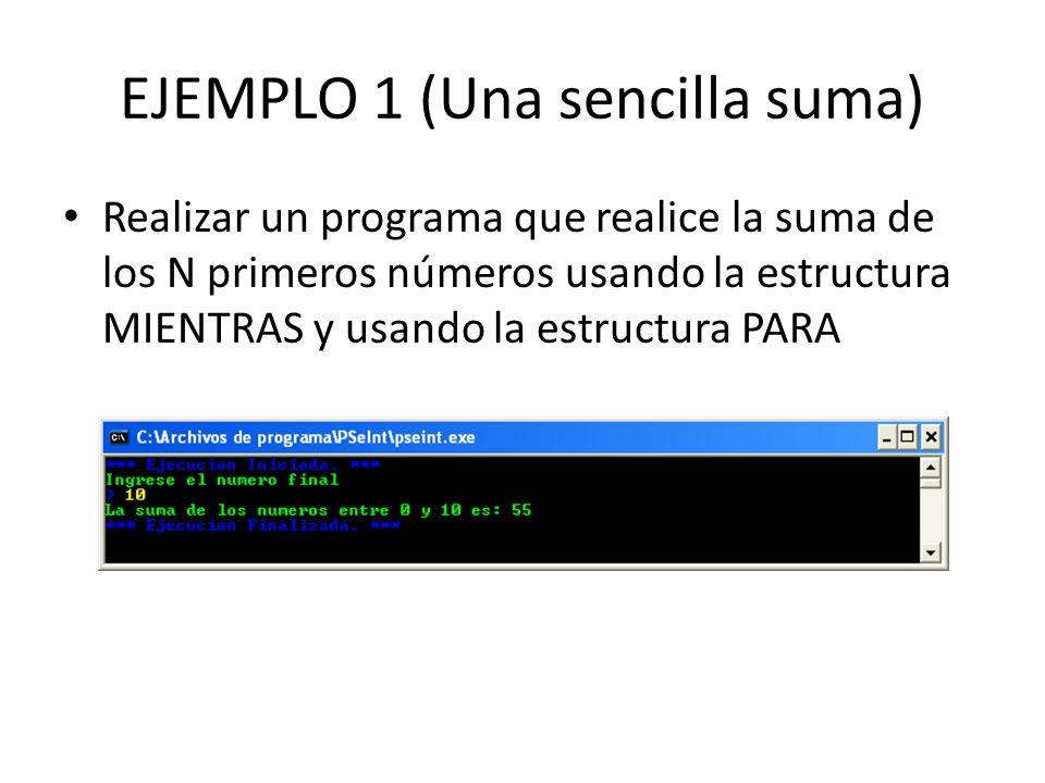 EJEMPLO 1 (Una sencilla suma) Realizar un programa que realice la suma de los N primeros números usando la estructura MIENTRAS y usando la estructura