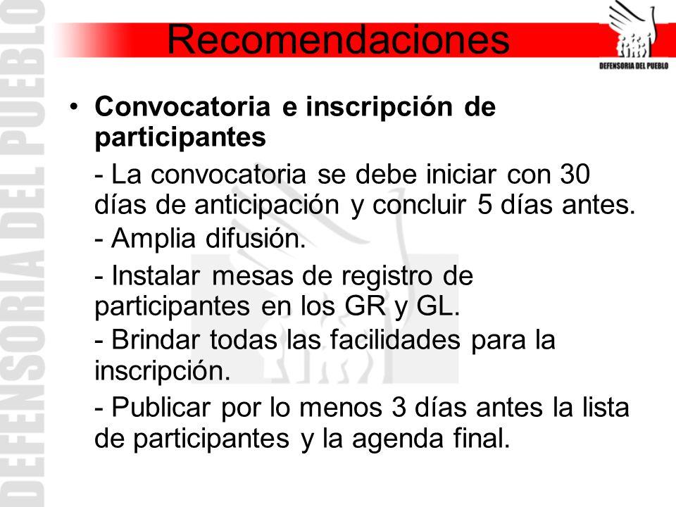 Convocatoria e inscripción de participantes - La convocatoria se debe iniciar con 30 días de anticipación y concluir 5 días antes. - Amplia difusión.